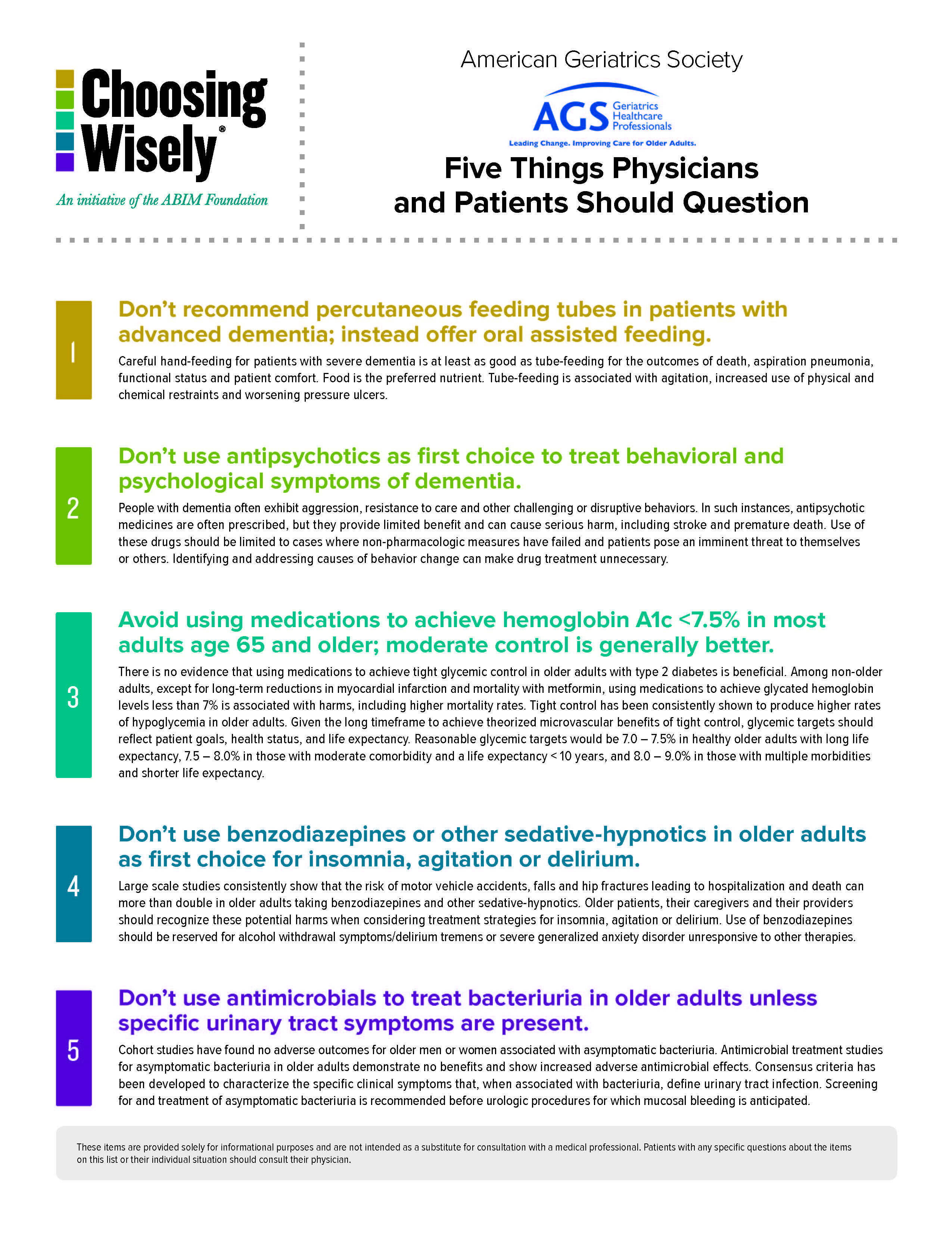 AGS' Five Things Healthcare Providers and Patients Should