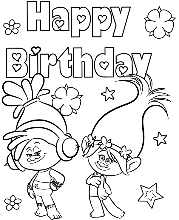 Trolls Happy Birthday Card Coloring Pages Birthday Cards Happy Birthday Cards