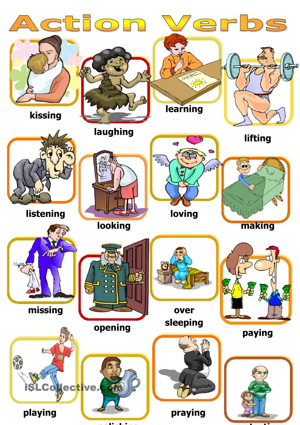 Action verbs board game poon Pinterest Action verbs