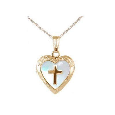 15 In Yellow Gold Or Silver Mother of Pearl Cross Heart Locket Necklace For Children