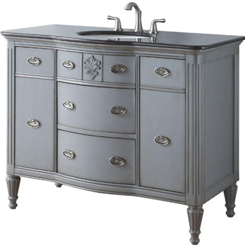 Home Decorators Collection Wellington 44 In W X 22 D Bath Vanity Worn Grey With Granite Top Black 13097 Vs44a Db The Depot