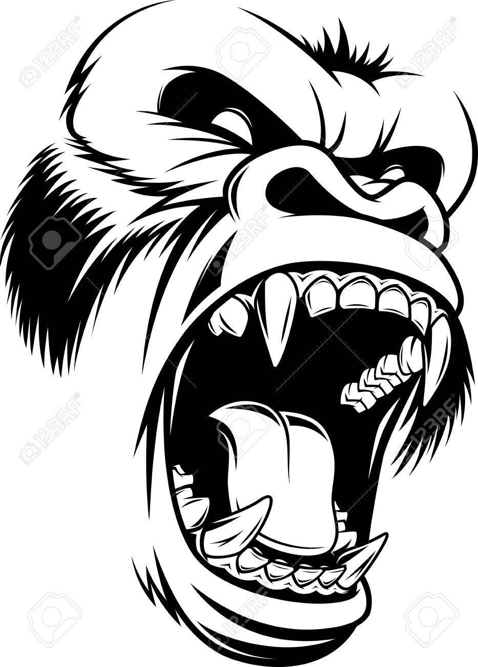 Illustration ferocious gorilla head on a white background картинки