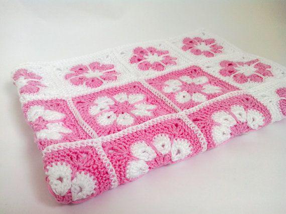 Summer Baby Girl BlanketFlower baby blanketGranny by HappyWoollies, €85.00