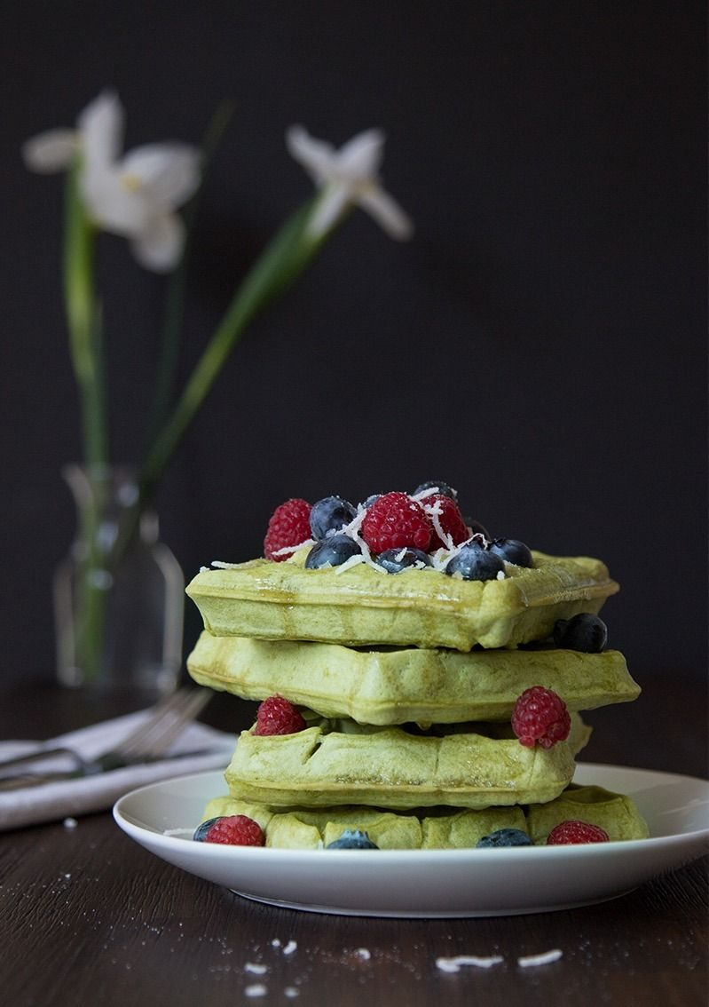 Make a stack of Vegan Matcha Coconut Waffles with this detoxifying breakfast recipe.