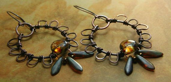 Copper Wire Wrapped Hoop Earrings with by AllowingArtDesigns