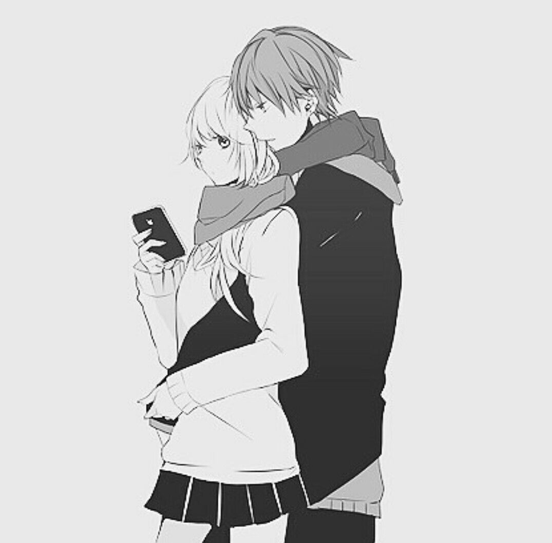 Photos Of Anime Couple Black And White