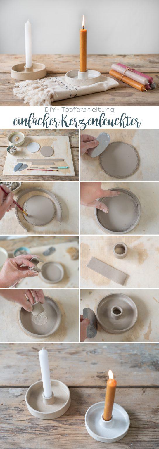 DIY - Töpferanleitung: Kerzenleuchter töpfern in Plattentechnik - Leelah Loves