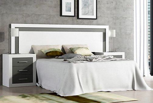 Mueble para dormitorio con cabecero enmarcado en varios colores a ...