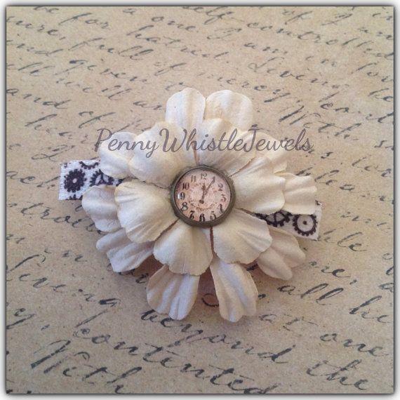 Steampunk Vintage French Barrette, Vintage Clock Barrette, Flower Barrette, Steampunk Hair Accessory