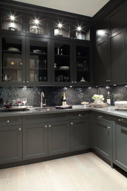 Gorgeous Black Butler S Pantry Design With Oak Wood Floors Shaker Kitchen Cabinets Gray Quartz Countertops And Gl Front Tiles