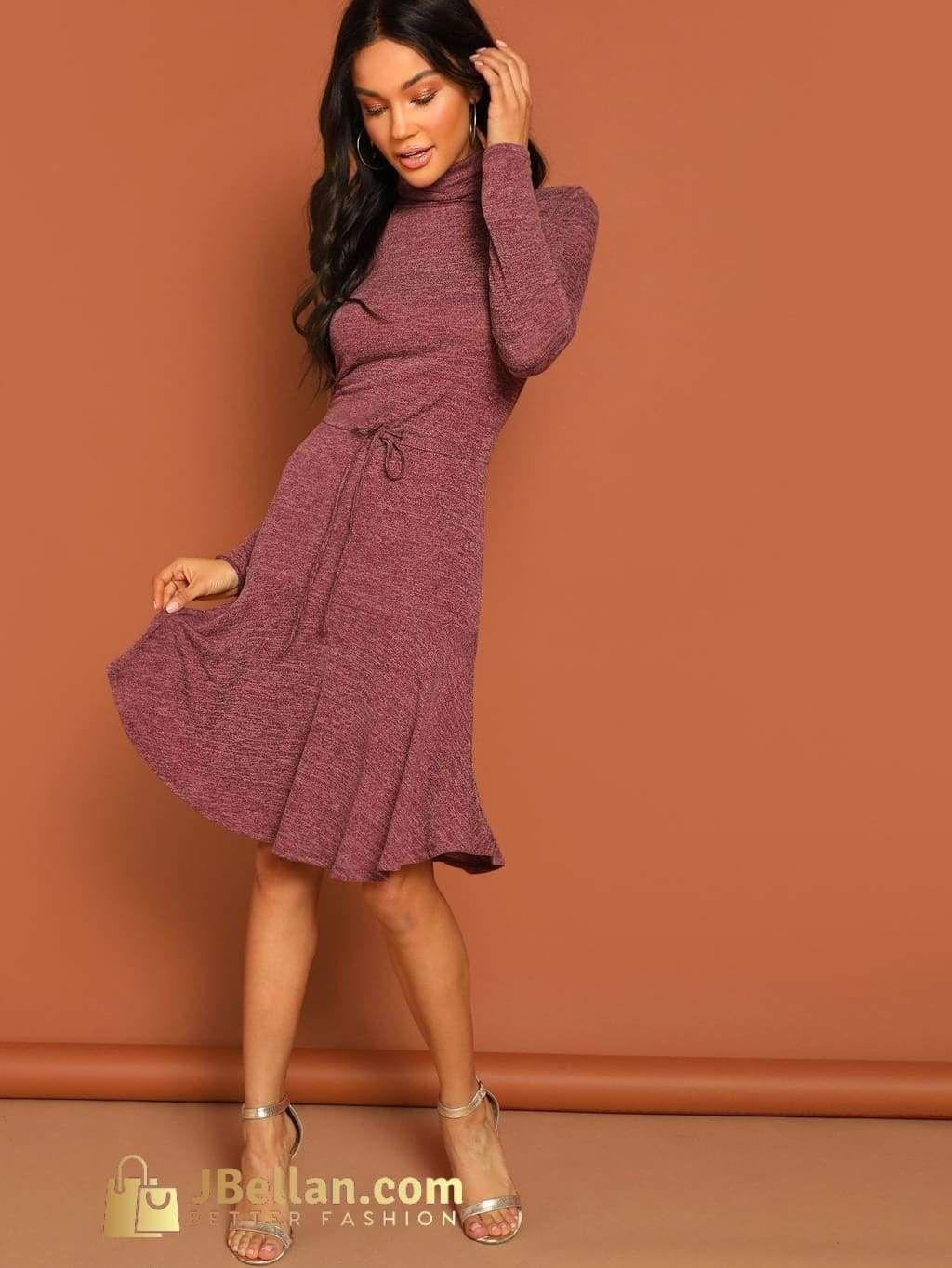 3a942e882b7d6 Jbellan High Neck Drawstring Waist Heather Knit Dress | Products ...