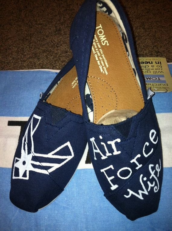DESIGN OF FAITH Air Force Wife custom painted Toms http