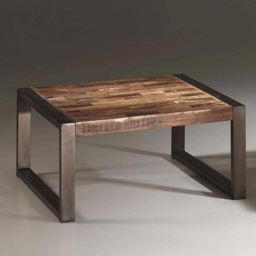 Table basse rectangulaire en bois recycl teck et m tal - Table basse industrielle bois metal ...