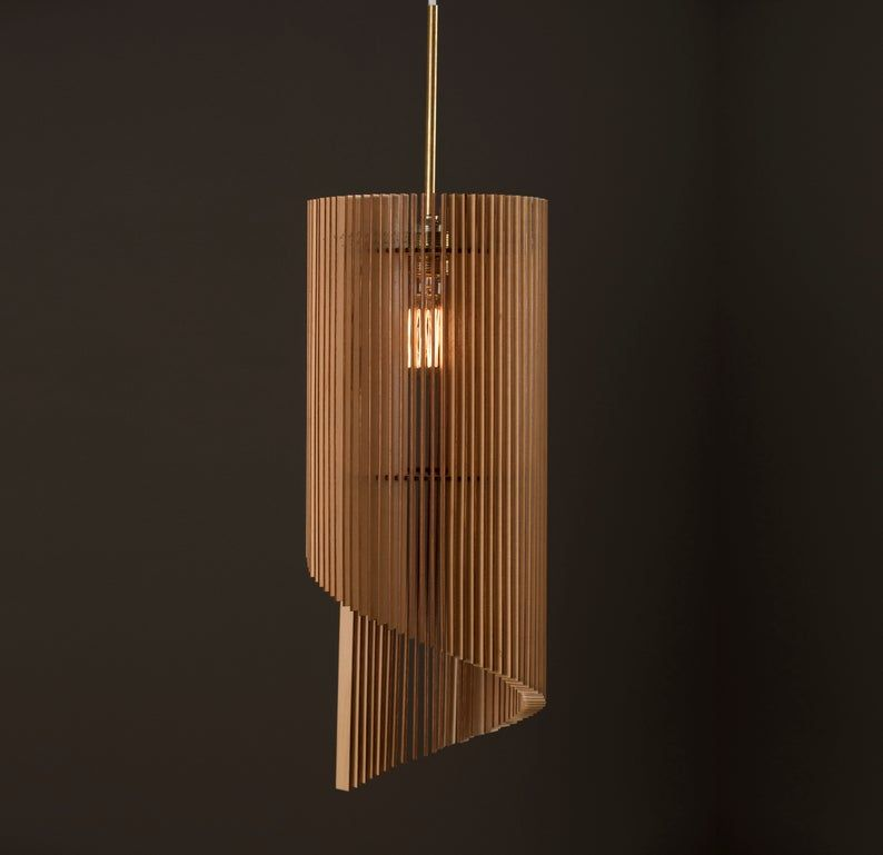 Wave Holz Lampe Holzlampenschirm Hangelampe Licht Etsy