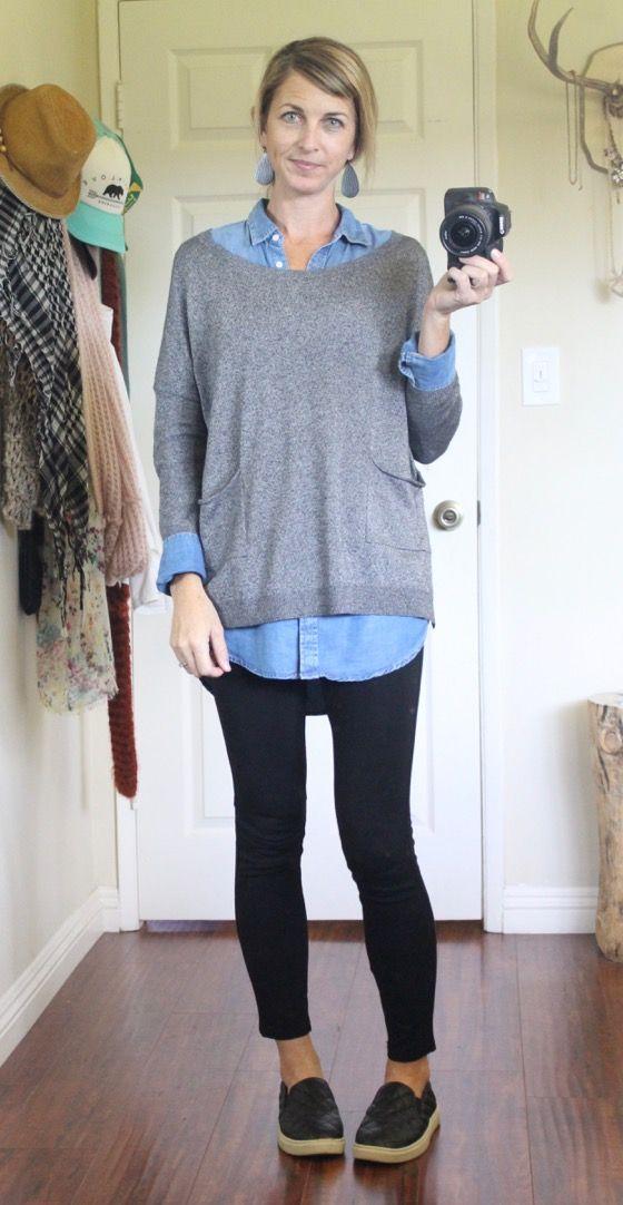 1f11326c10efe JJill denim shirt, long gray Target slit side sweater, black leggings