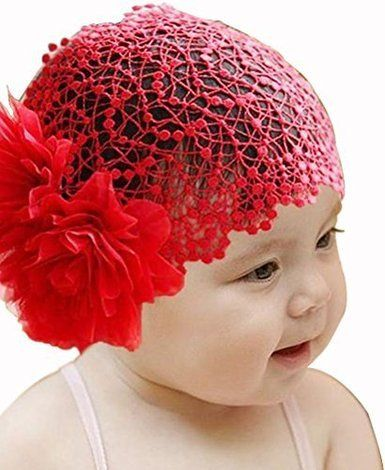 3c2bfc45a90c Amazon.com  Baby Girl Toddler Cute Lace Wide Headband with Big Flower  Stretch Headwear (Pink)  Clothing