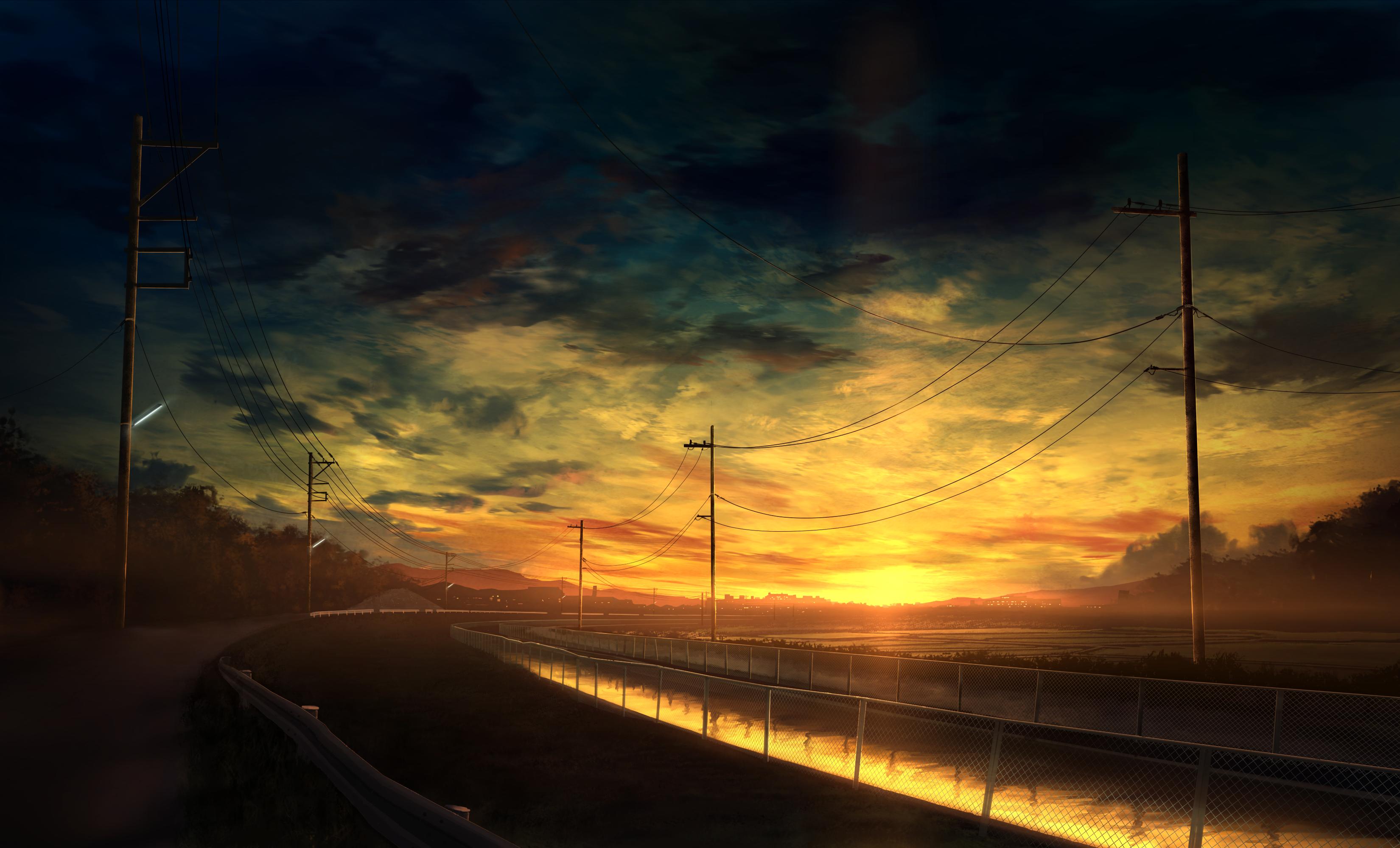 Anime 3300x2000 sunset road Por do sol, Imagine, Cores