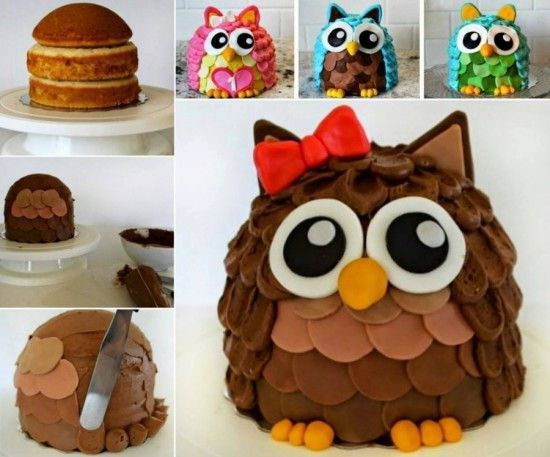3D Owl Cake Recipe Instructions With Video Owl cakes Cake