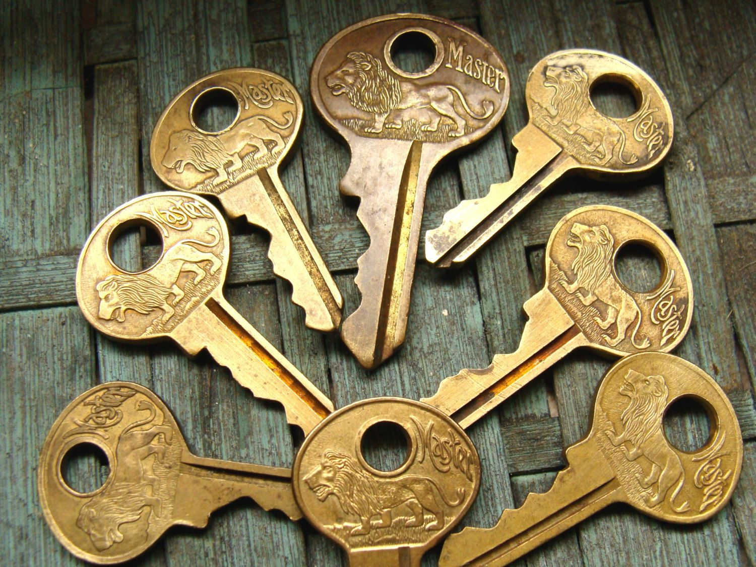 Old Master lock lion key lot - brass antique key collection of 8 ...