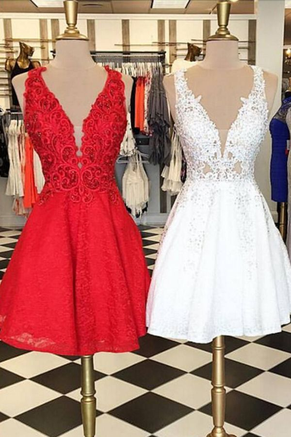 e9b5b49b1ad High Quality Sleeveless V-Neck Lace Homecoming Dress