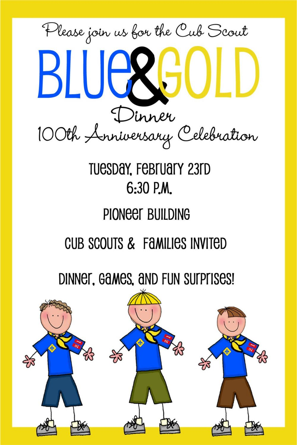 Cub Scouts Blue and Gold Banquet Invitation Banquet Gold and Etsy
