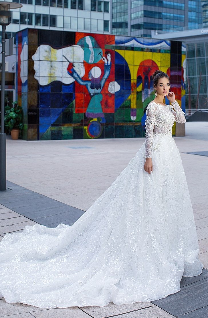 Long sleeves lace heavily embellished with 3d flowers and pearls applique ball gown wedding dress chapel train #wedding #weddinggown #weddingdress