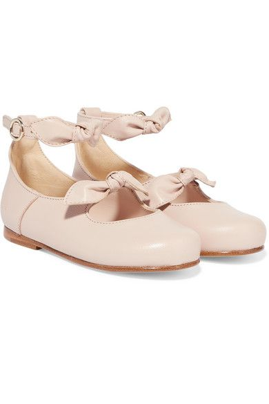 24 bow-detailed leather ballet flats