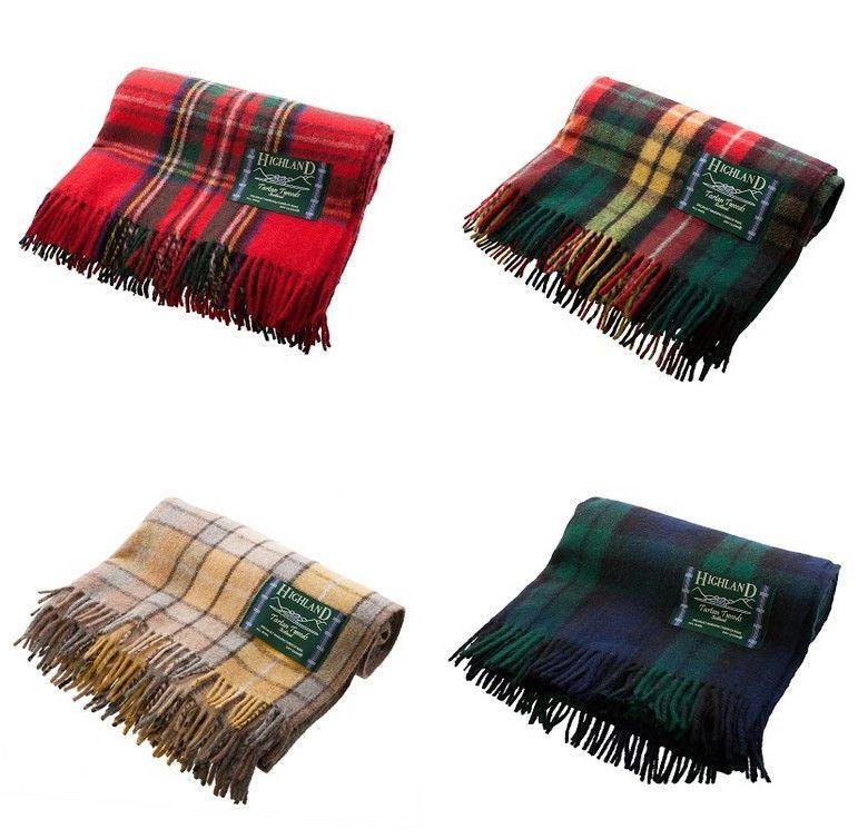Scottish 100 Wool Tartan Check Plaid Blankets Rug Throws Traditional Patterns Home Garden Bedding Ebay