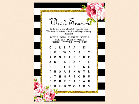 Baby Word Search, Baby shower word search game, Gold Glitter