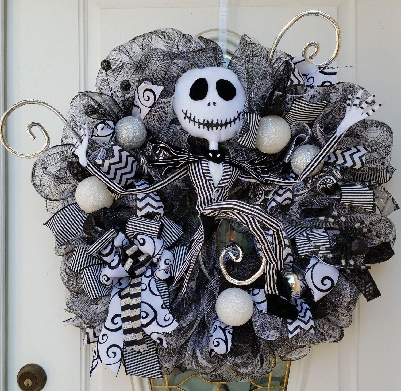 Jack skellington wreath nightmare before christmas wreath beware of the pumpkin king jack skellington wreath nightmare before christmas decor skeleton door wreath halloween door decoration rubansaba