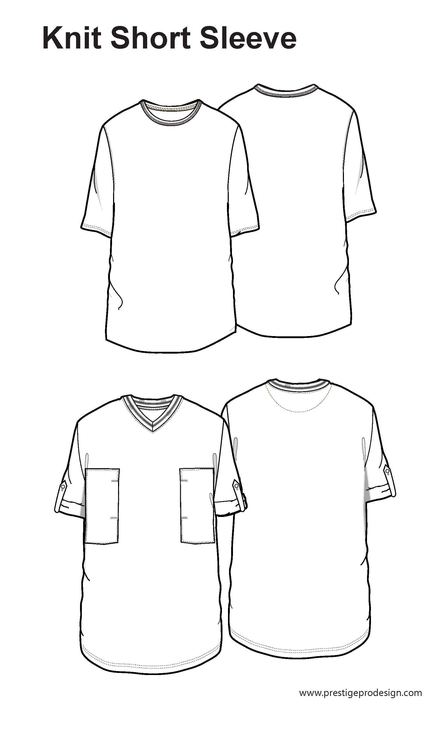 Tops fashion design sketches flat fashion sketch top 045 - Short Sleeve Short Sleeve Fashion Snoops