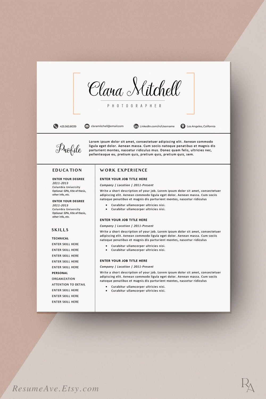 Orange Cv Template Professional Teacher Resume Template Word Etsy Teacher Resume Template Resume Template Word Resume Design Template