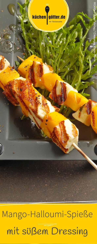 Mango-Halloumi-Spiesschen auf Rucolasalat #grillingrecipes
