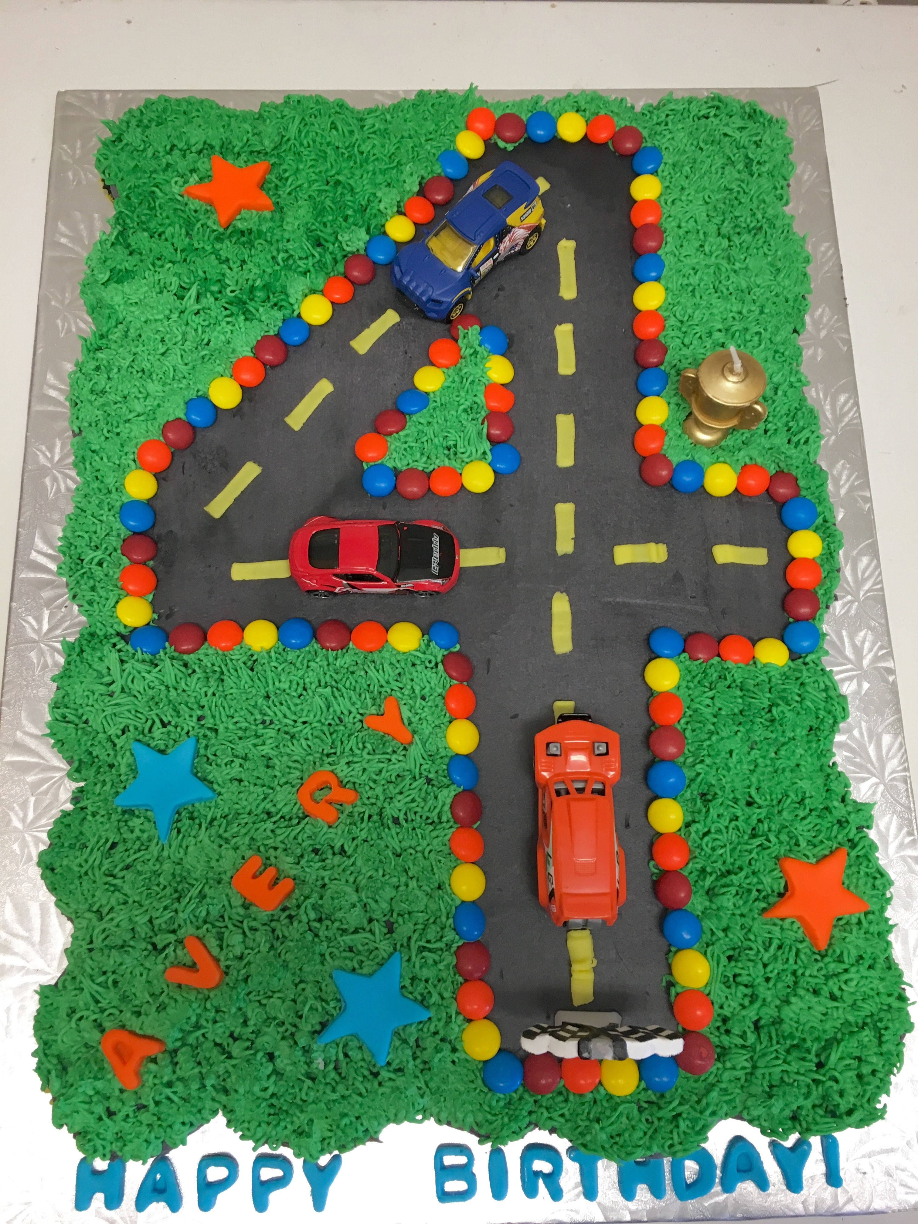 4th Birthday Race Car Cupcake Pull Apart Cake