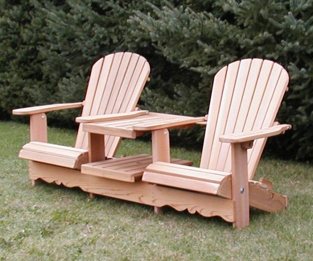 Double Adirondack Chair With Table Home Furniture Design Adirondack Chair Adirondack Chairs Painted Adirondack Chair Plans