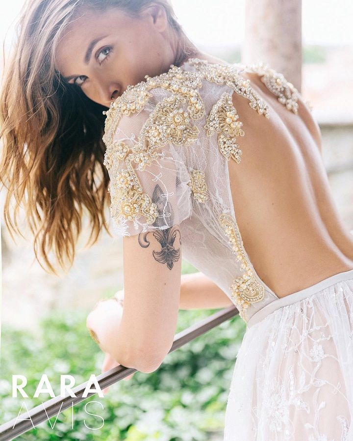 Beautiful Pearl Embroidered wedding dress with gold accents | fabmood.com #weddingdress #wedding #weddingdresses #bridalgown #weddinggown