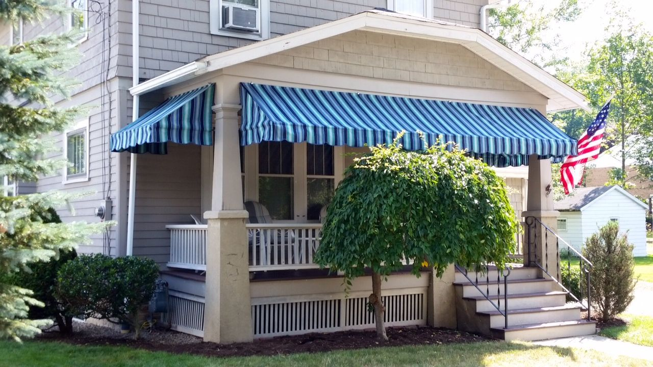 Striped Porch Awnings Porchawnings Jamestownawning Residential