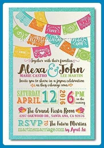Papel Picado Paper Flags Fiesta Wedding Invitations and Matching Metallic Envelopes with Return Address (Pack of 50 Invitations and 50 Envelopes - 100 total ...