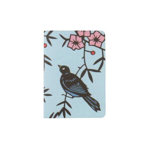 Black Bird Pink Cherry Blossom Tree Branches Passport Holder