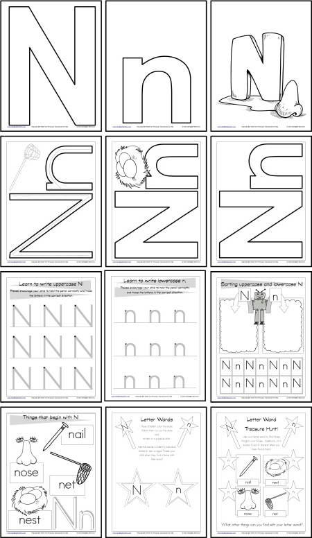 Letter N Worksheets And Resources Itsy Bitsy Learners Letter N