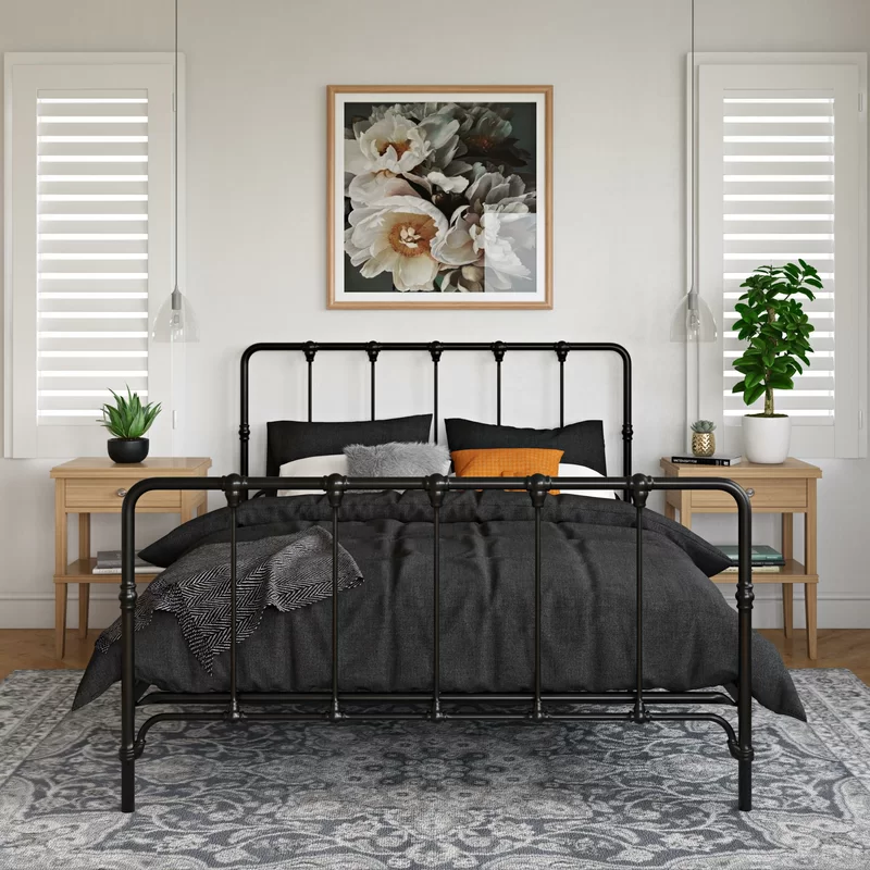 Viviana Farmhouse Metal Platform Bed In 2020 Metal Platform Bed