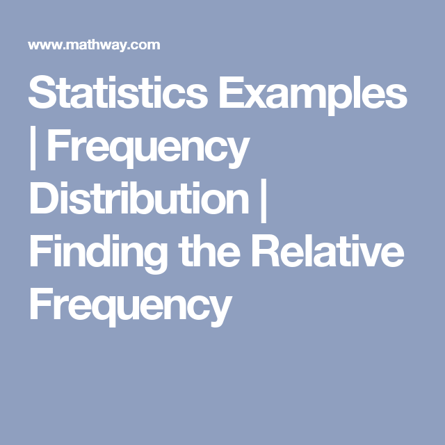 Statistics Examples | Frequency Distribution | Finding the Relative