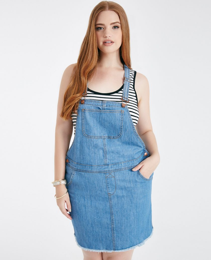 40eb45e877a Plus Size Denim Overall Skirt