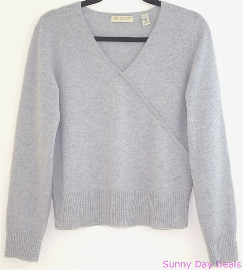 Lord Taylor Womens Sweater 2ply Cashmere Long Sleeve V Neck Gray L