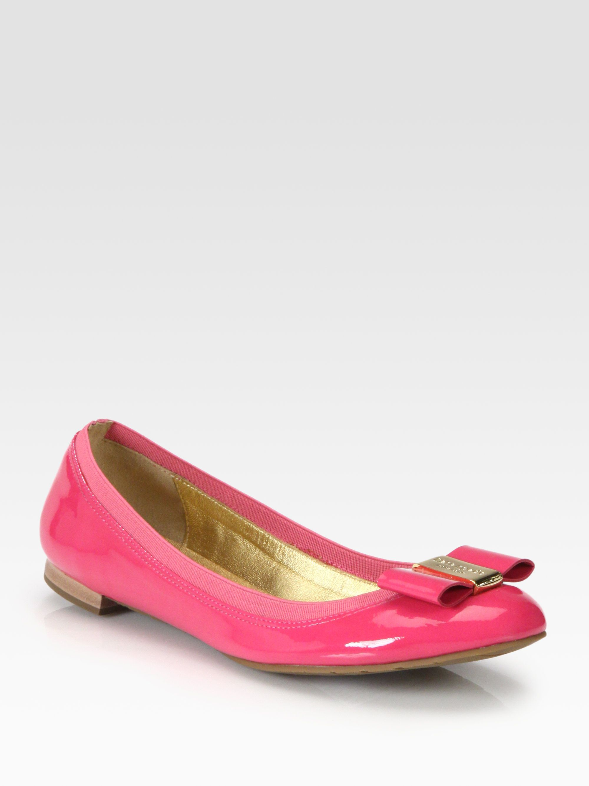 1339a6771c46 Kate Spade Tock Patent Leather Bow Ballet Flats in Pink
