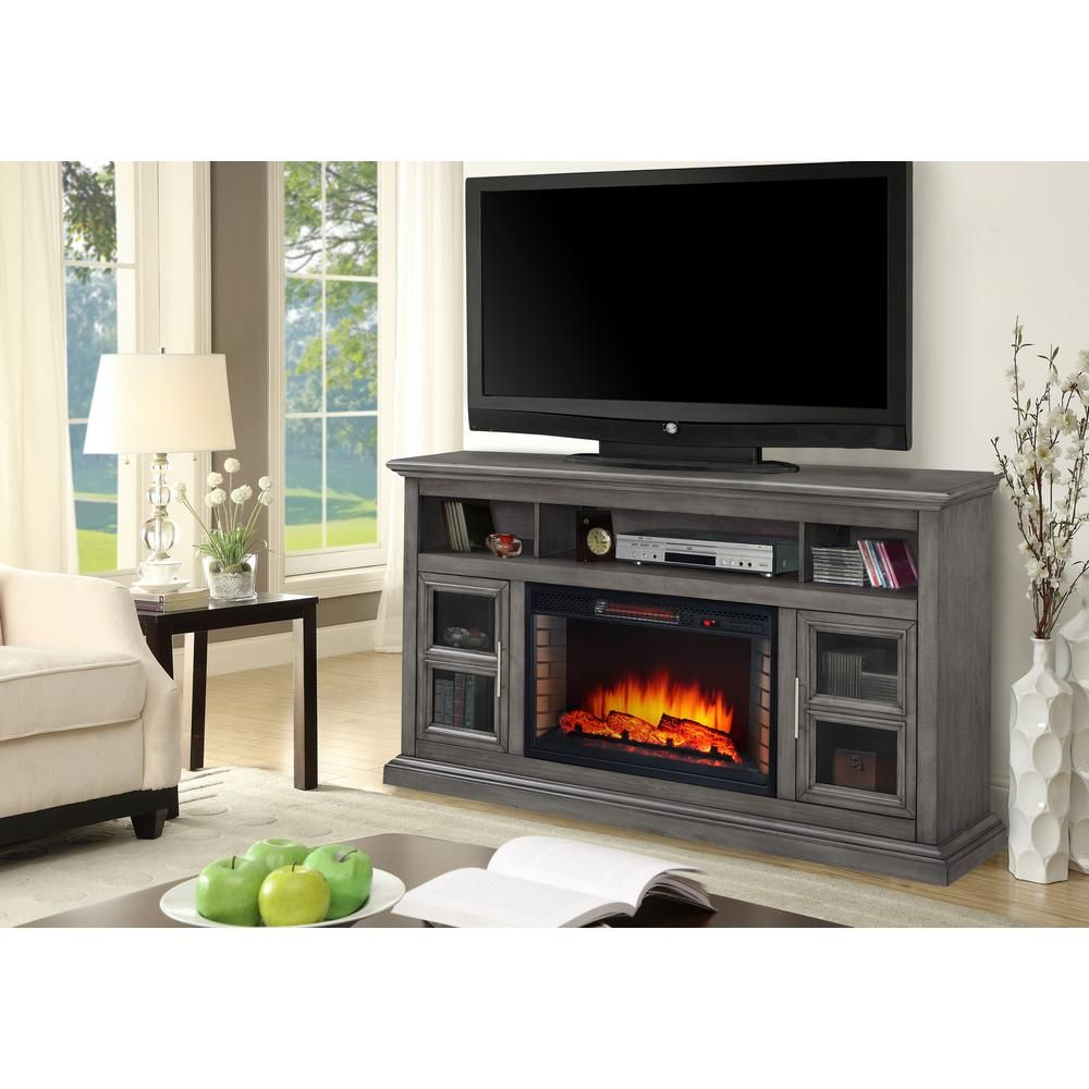 Muskoka Glendale 58 In Freestanding Electric Fireplace Tv Stand Dark Weathered Gray 370 190 205 Kit The Home Depot Fireplace Tv Stand Electric Fireplace Tv Stand Electric Fireplace