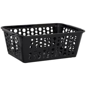 Dollartree Com Bulk Black Rectangular Slotted Plastic Storage Baskets Storage Baskets Plastic Storage Plastic Baskets