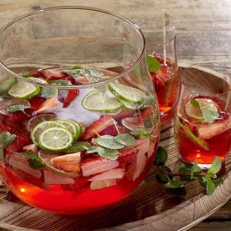 Alkoholfreie Hugo-Erdbeer-Bowle