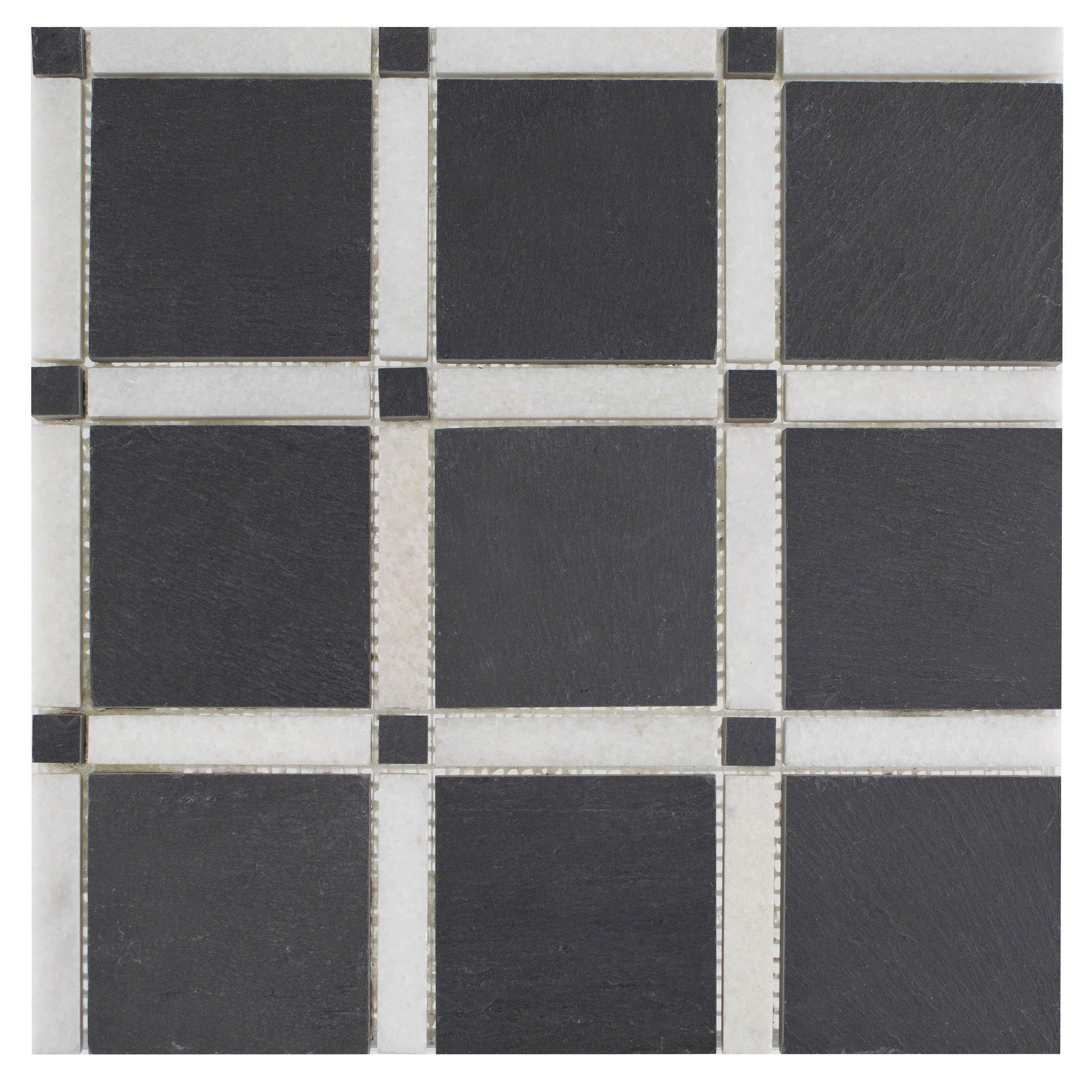 Black And White Forum Honed Slate Mosaic Marble Mosaic Floor Decor Natural Stone Tile