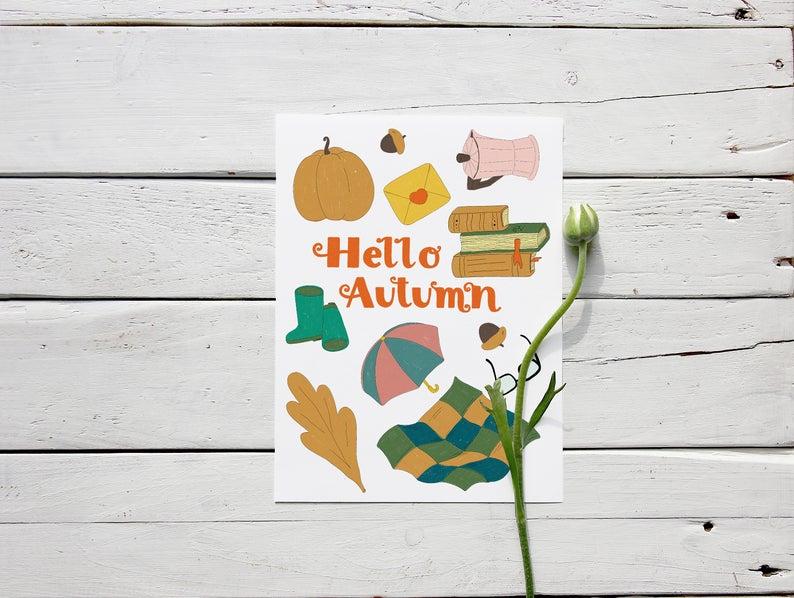 Hello Autumn postcard constructor: png + ai file pumpkin books plaid illustration pencil vintage graphic printable leaf umbrella digital #helloautumn